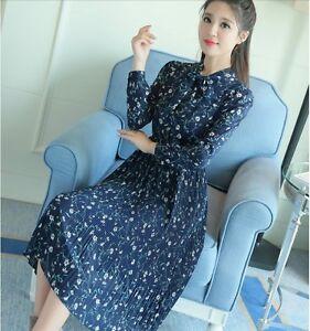Casual Korean Style Bowknot Long Sleeve Slim Maxi Autumn Floral