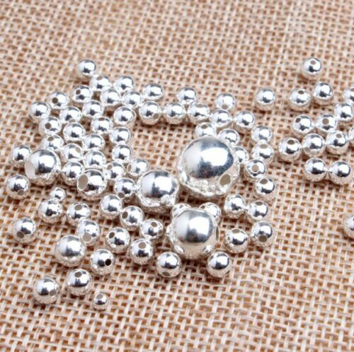 S925 Sterling Silver Round Seamless Spacer Beads size:2mm 3mm 4mm 5mm 6mm