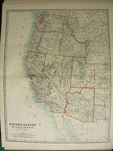 1896 LARGE VICTORIAN MAP ~ WESTERN UNITED STATES ~ CALIFORNIA NEVADA ...