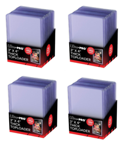 100 Ultra Pro 100pt Thick Toploaders Jersey Cards 4 Packs of 25 NEW Top Loader