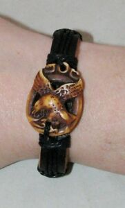 Leather-Bracelet-EAGLE-Handmade-Tribal-OA-Regalia-Pow-Wow-Fits-6-034-to-7-5-034-BR9