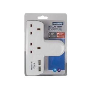2-voies-Cable-GRATUIT-prise-de-courant-avec-2-USB-Ports-Blanc-Extension-statut