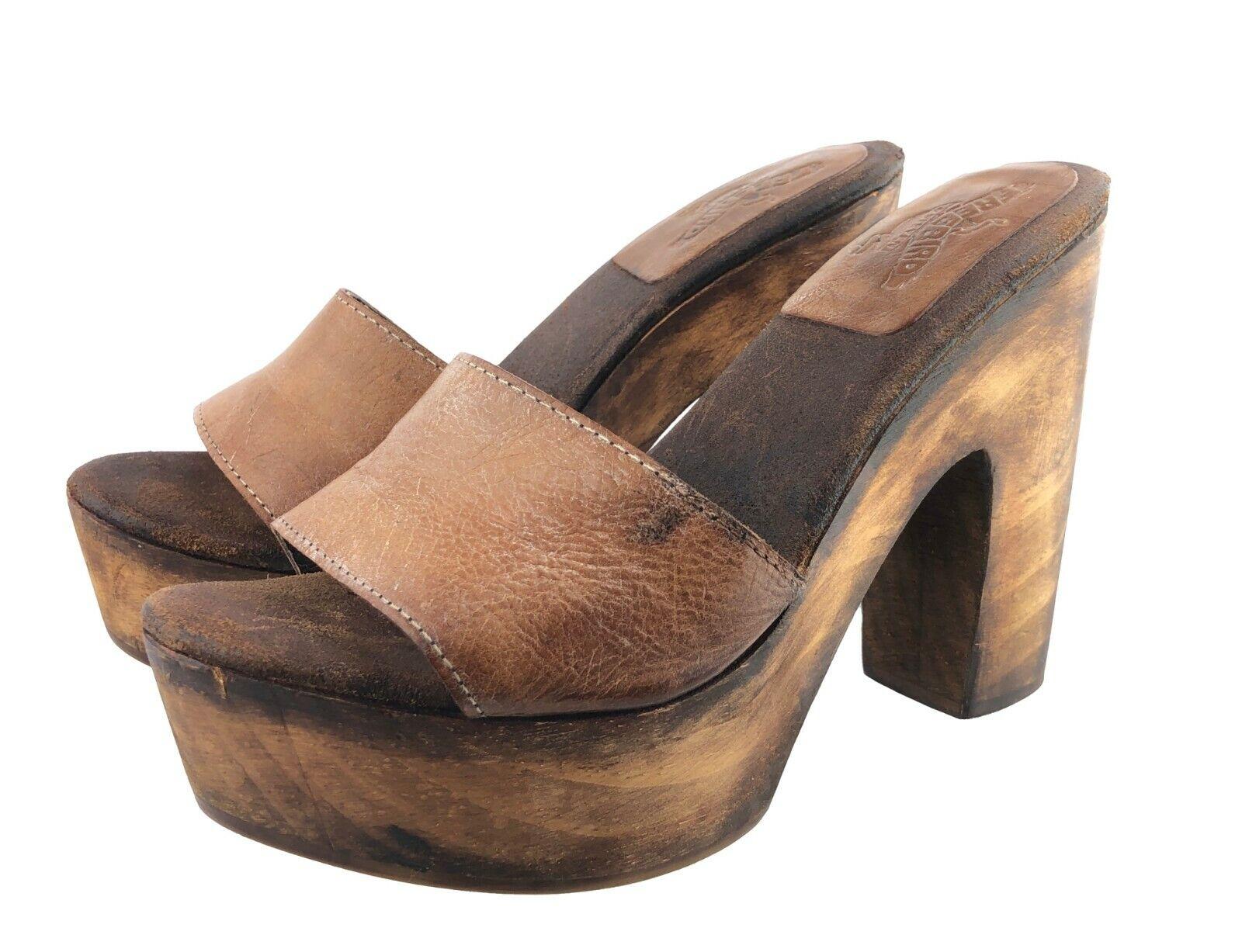 Freebird by Steven Cuba Cognac 5  Heel Wood & Leather Sandals shoes Size 9 Brown