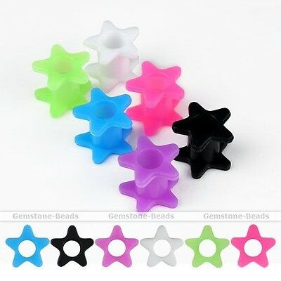 Pair 8-20mm Flexible Silicone Star Flared Ear Tunnels Plugs Expander Stretcher