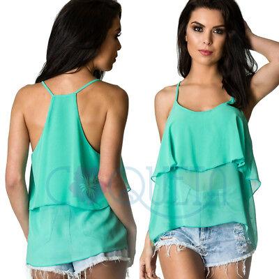 COQUETA flare Sleeveless strap Ruffle chiffon shirt top IVORY women/'s blouse top