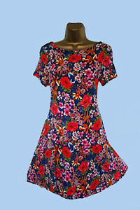 NEW-M-S-M-RKS-AND-SPENCER-FLORAL-BLUE-RED-WHITE-JERSEY-STYLE-SWING-DRESS-6-22