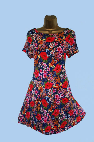 NEW M S M RKS AND SPENCER FLORAL BLUE RED WHITE JERSEY STYLE SWING DRESS ... ffc652fcf