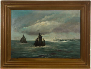 M-G-Rose-Framed-Early-20th-Century-Oil-Two-Boats-and-a-Pier
