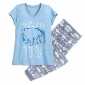 "Disney Store Eeyore Pajama Set Women Adult /""I am 104/% Tired/"" XL NEW"