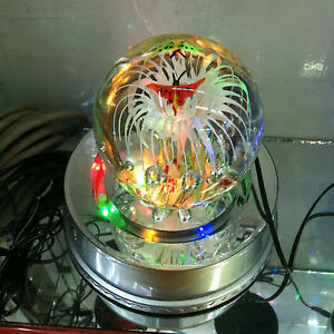 """7"""" Rotating Crystal Ball paperweight Display Base Stand 15 LED Light  AC adapter"""