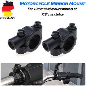 2x-10mm-7-8-034-22mm-Motorrad-Lenker-Spiegelhalter-Spiegelhalterung-Spiegelschelle