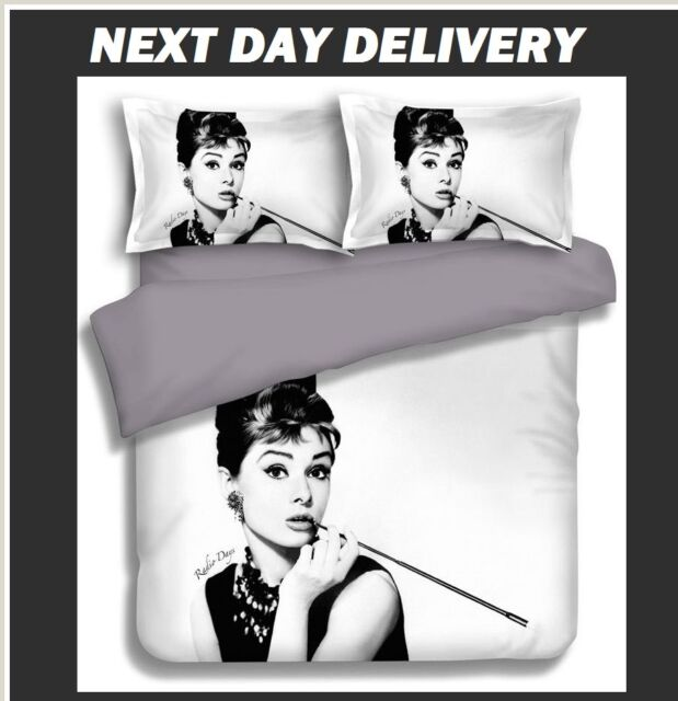 AUDREY HEPBURN DOONA QUILT DUVET COVER AND PILLOWCASE SET,3 PIECE, QUEEN SIZE