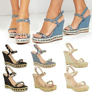 e61fe2b0fd43 Details about Womens Ladies Studded Wedge Sandals Strappy Platforms Denim  Summer Shoes Size