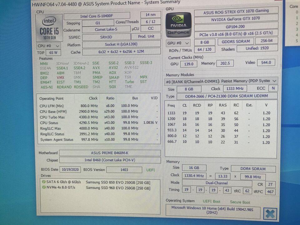 GTX 1060, I5-10400F, 16 GB Stærk Gamer