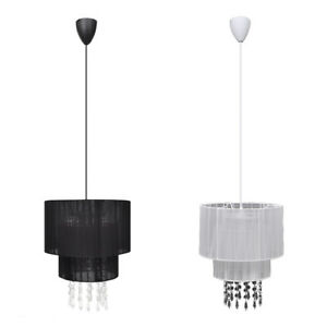 New-Modern-Pendant-Ceiling-Lamp-Fixture-Light-Crystal-Chandelier-Black-White