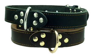 """High Quality Genuine Leather Dog Collar, Black 1.2"""" wide Fits For 16-21""""neck"""