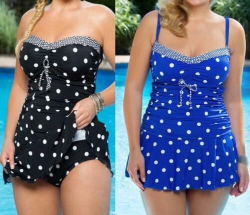 Ladies Swimwear Tankini Sets Women Polka Dot Swimdress Size 6-22