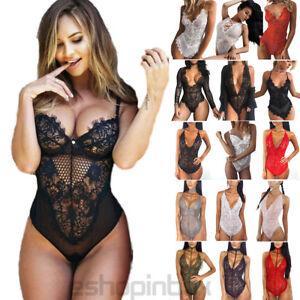 Sexy-Womens-Lace-Bodysuit-Sheer-Lingerie-Bustier-Babydoll-Underwear-Sleepwear