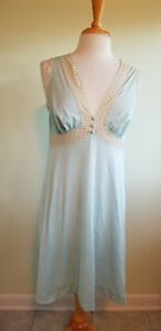 Vintage Nightgown Vanity Fair Late 70 s Light Blue Beige Lace Trim ... e8cbabfaa