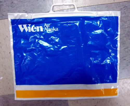 given to customer to put items in vintage Wien Air Alaska Plastic Shoe Bag