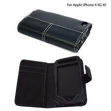 PU Leather Megnatic Closure Side Open Pouch Case Cover For Apple iPhone 4/4G/4S
