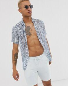 ASOS-DESIGN-Regular-Fit-Sheer-Shirt-with-Aztec-Stripe-in-Blue-amp-White-SIZE-M