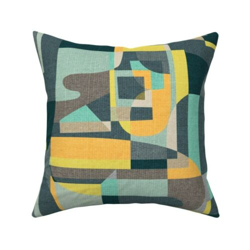 Desert Oasis Modern Cubist Teal Throw Pillow Cover w Optional Insert by Roostery