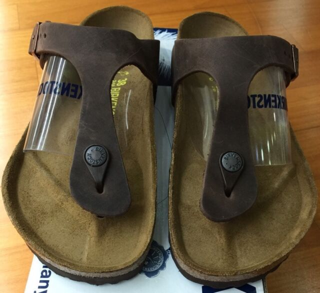 bc6b174b7b71 Birkenstock Gizeh 743831 size 38 L7~7.5 R Habana Oiled Leather Thong Sandals