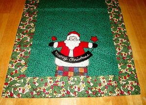 Home-Collections-by-Raghu-Christmas-Table-Runner-Santa-Applique-Ivy-54-034-x-15-5-034