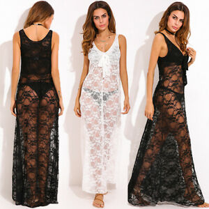 Women-Sleeveless-Lace-Crochet-Tank-Dress-Bikini-Cover-Up-Long-Maxi-Dress-Plus