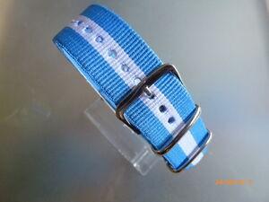 Nylon Uhrenarmband Durchzugsband blau gelb blau 22 mm Dornschließe Nato Band