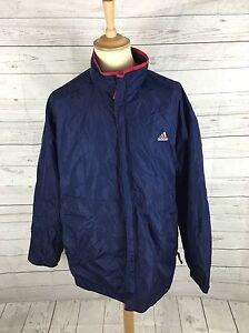 1601b9b6d780 Das Bild wird geladen Herren-Adidas-Retro-Regenjacke -Mantel-XL-dunkelblau-super-