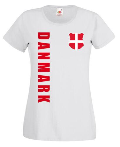 Fußball Dänemark Danmark WM 2018 Damen T-Shirt Trikot Name Nummer Fussball Team Nationa Nationalmannschaften