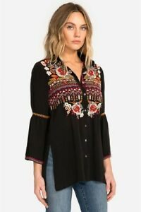Johnny-Was-Workshop-Jyll-Flare-Sleeve-Shirt-Embroidered-New-Boho-Chic-W19818