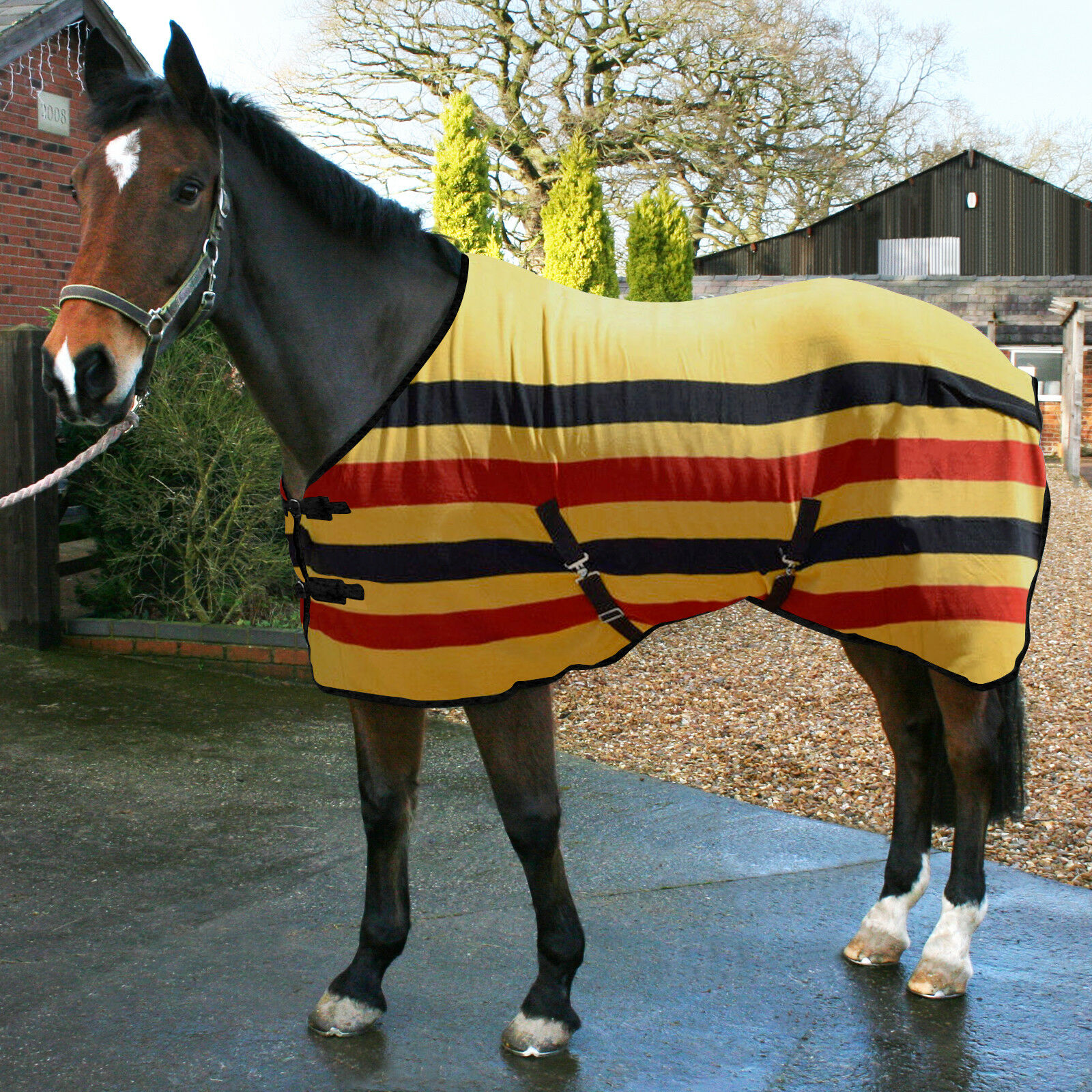 Traditional New Market Style Striped Horse Fleece Rug Stable Travel Show