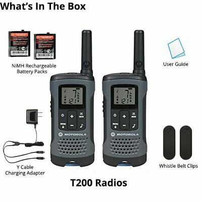 Motorola Talkabout T200 Walkie Talkie 8 Pack Set 20 Mile Two Way Radio Package