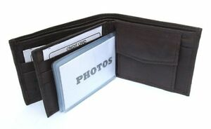 MENS BROWN LEATHER WALLET LAMB BIFOLD W COIN POUCH 756B
