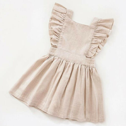 US Toddler Kid Baby Girl Clothes Sleeveless Dress Skirt Sundress Solid Outfit SE