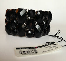 "NEW York & Company Black Diamond Cut  Black Onyx? Stretch Bracelet wide 1,25"""
