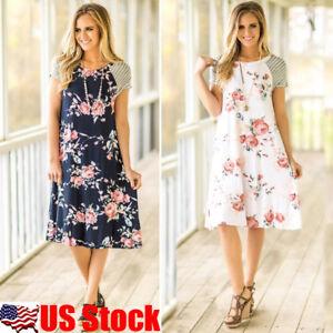 US-Summer-Women-039-s-Boho-Short-Sleeve-Beach-Midi-Dress-Casual-Floral-Sundress-S-XL