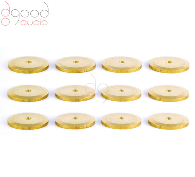 12 SOLID BRASS ISOLATING SPIKE PADS / SHOES HI-FI SPEAKERS AND TURNTABLE UPGRADE