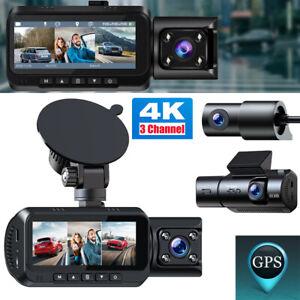TOGUARD 3 Channel 4K GPS Dash Cam 1080P 3 Way Triple Car Camera IR Night Vision