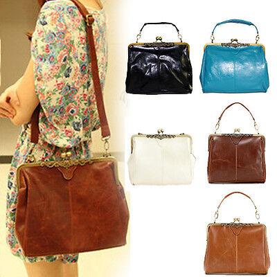 Retro Vintage Lady PU leather shoulder handbag Satchel Cross Body Tote bag purse