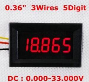 5-PCS-DC-0-33-000V-33V-Spannung-Panel-Meter-0-36-034-LED-3-Draehte-5-Digital-Voltmeter