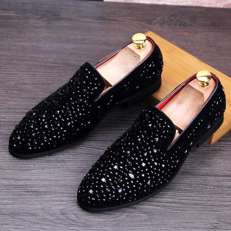 Mens Sequin Slip On Casual Loafer Driving Club Dress formal shoes black