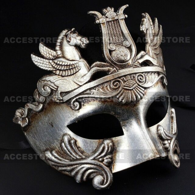 Metallic Silver Roman Warrior Greek Venetian Masquerade Mardi Gras Mens Mask
