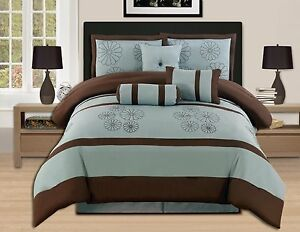 7 Pc luxury KING Bed In a Bag Comforter Set Aqua Blue Brown-hs16