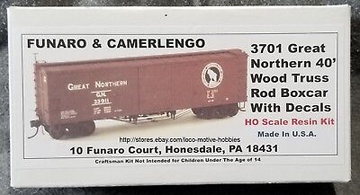LMH Funaro F/&C 3701  GREAT NORTHERN  GN  40/' Boxcar Wood Truss Rod  Resin Kit