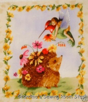 "Fairy Fabric Hummingbird Hedgehog 6"" x 7"" quilt block  cotton quilting"