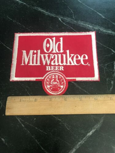 "Old Milwaukee Beer Uniform Patch Vtg 6"" Rare Orig Retro 80s WI Display Bar Logo"
